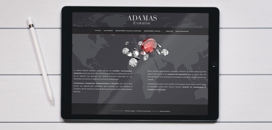 Site web Adamas Expertise